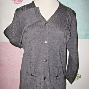 Gray 2 Pocket Cable Knit Button Cardigan Sweater M